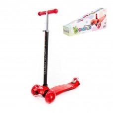 Самокат для прогулок  Scooter Maxi, трехколесный самокат-кикборд с большими светящимися колесами ((красно-чёрный в коробке). Арт. # 0072-V(К-Ч) Полесье