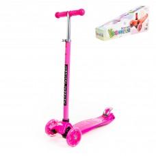 Самокат для детей  Scooter Maxi, трехколесный самокат-кикборд с большими светящимися колесами (розовый). Арт. # 0072-V(М) Полесье