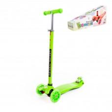 Самокат детский Scooter Maxi, трехколесный самокат-кикборд с большими светящимися колесами (зеленый). Арт. # 0072-V(З) Полесье