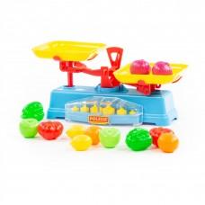 """Детский игровой набор """"Весы"""" + набор продуктов (12 элементов) (в сеточке) арт. 53787 Полесье"""